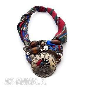 naszyjniki azteque naszyjnik handmade, naszyjnik, kolorowy, bordo, brązowy