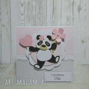 Zaproszenie / karta panda z kwiatkiem, panda, urodziny, chrzest, roczek, kwiatek