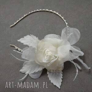 róża ecru, róża, jedwab, ślub ozdoby do włosów, świąteczny prezent
