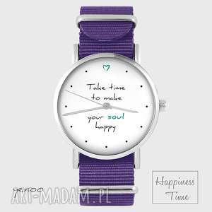 Prezent Zegarek - Make your soul happy fioletowy, nato, zegarek, bransoletka, nato