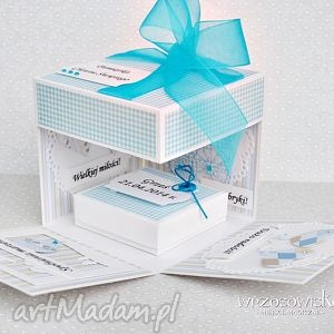 pamiątka chrztu personalizacja - chrzest, box, exploding, chłopiec, pudełeczko