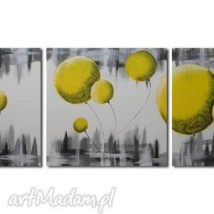 obraz DMUCHAWCE ŻÓŁTE - 150x50cm duży ręcznie malowany, obraz, dmuchawce, żółte