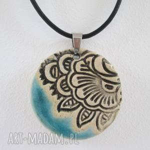 święta, naszyjnik etno turkus, ceramiczny naszyjnik, z ceramiki, wisiorek
