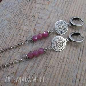 pajęczyna z niedoskonałymi rubinami, srebro, kolczyki, rubin