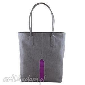 na ramię pillar - duża torba shopper szary i fiolet, shopper, duża, pojemna