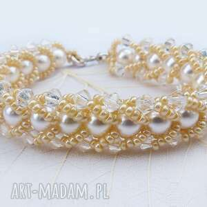 Bransoletka Cream Pearls - ,elegancka,kryształki,swarovski,perły,plecione,wieczorowa,