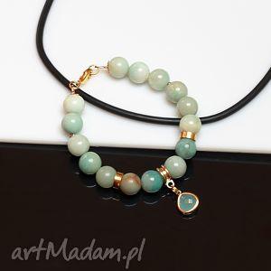 amazonit - bansoletka, amazonit, łezka, metal, pozłacana, bransoletka biżuteria