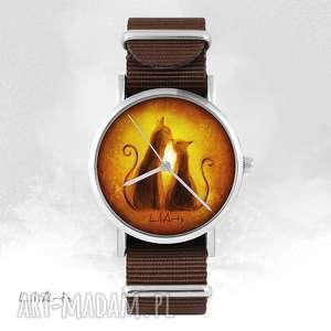 zegarki zegarek - kotki brązowy, nato, zegarek, bransoletka, kotki, grafika
