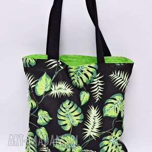 Torba na zakupy Shopperka liście monstera palmy jasnozielona podszewka, torba
