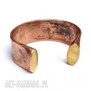 ręczne wykonanie solidna bransoleta z kutej miedzi i mosiądzu