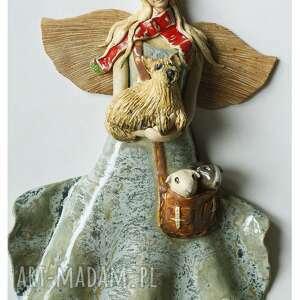 anioł z pieskiem i świnkami morskimi, ceramika, anioł, pies, świnka morska