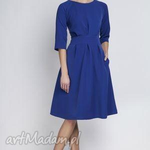sukienka z rozkloszowanym dołem, suk122 indygo, rozkloszowana, kieszenie