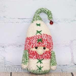 upominki święta szydełkwy świąteczny skrzacik, krasnal, skrzat, prezent, skrzacik
