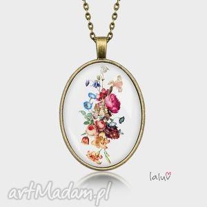 Prezent Medalion owalny RETRO FLOWERS, kwiaty, bukiet, romantyczne, prezent, medalion