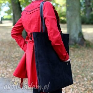 Bags Philosophy! Duża czarna zamszowa torba w kształcie