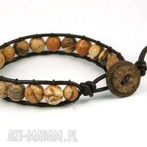 bransoletki snake wrap jaspis obrazkowy, jaspis, onrazkowy, skóra, rzemień, kamienie