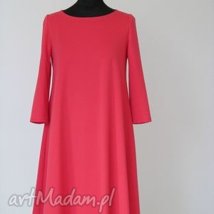 7 - sukienka malinowa, sukienka, sukienki, rozkloszowana, trapez, mini, dzianina