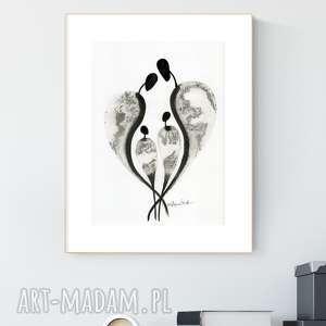 grafika a4 malowana ręcznie, minimalizm, abstrakcja czarno-biała, 2466970