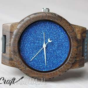 Drewniany zegarek BLUE HAWK, drewniany, brokatowy, zegarek, lekki, niebo, elegancki