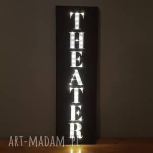 dekoracje świecący obraz led z napisem theater prezent dla miłośnika teatru