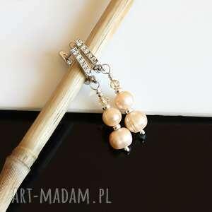 złociste perły - kolczyki