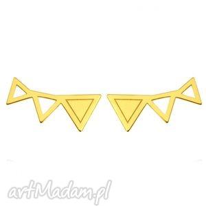 handmade bransoletki złote kolczyki trzy trójkąty