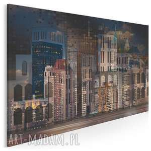 obraz na płótnie - miasto budynki domy noc 120x80 cm 83601