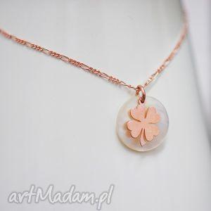 925 srebro pokryte różowym złotem czterolistna koniczyna