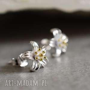 kolczyki 925 srebrne mini lilie, kwiaty, srebo, wkrętki, małe, mini