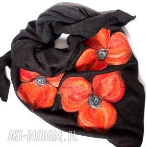 czarna chusta handmade wełniana, apaszka, chusta, kwiaty, czarna, zima
