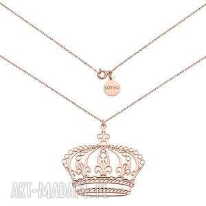 naszyjnik z dużą koroną z różowego złota - czerwone