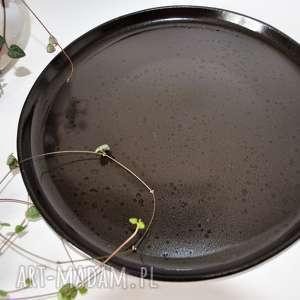 talerz nakrapiany - gorzka czekolada, ceramika, talerz, plate, talerze
