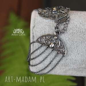 Romantyczna Rozalia, ażurowa, oksydowana, bransoletka, srebro