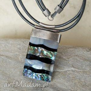 naszyjnik srebrny z muszlą paua b953 - naszyknik, oryginalny, muszla, srebro