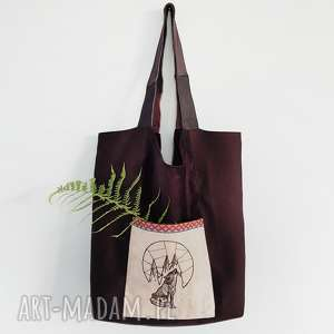 torba XL wilk, torba, las, góry, skóra, etno
