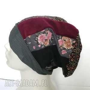 czapka patchwork smerfetka dresowa dzianina boho - czapka, damska, etno, boho, patchwork
