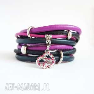 hand made biżuteria bransoletka - precel rzemienie, owijana, lila