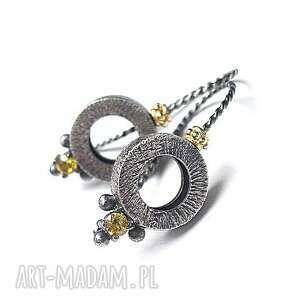 kolczyki circle -yellow -kolczyki, srebro, oksydowane, pozłacane, cyrkonie