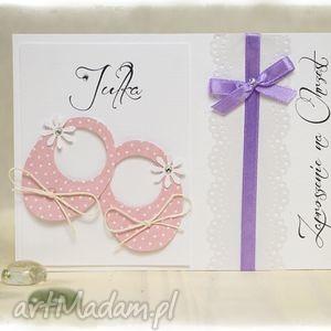 little shoes - zaproszenia na chrzest święty różowe kropeczki wzór, różowy