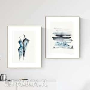 zestaw 2 obrazów 30x40 cm wykonanych ręcznie, abstrakcja,2829187, obraz ręcznie