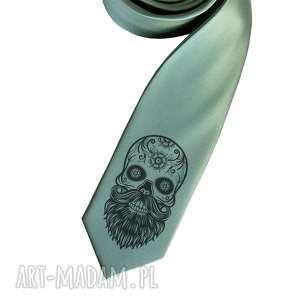 Krawat z nadrukiem - czacha brodą, krawat, czacha, czaszka, broda, nadruk,