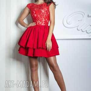 sukienka lola mini czerwona - rozkloszowana, koronka, mini, czerwona, wesele