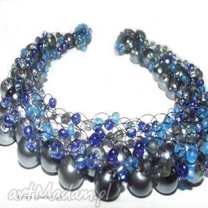 oryginalny prezent, naszyjniki niebieska żyłka, naszyjnik, nienieski, perły