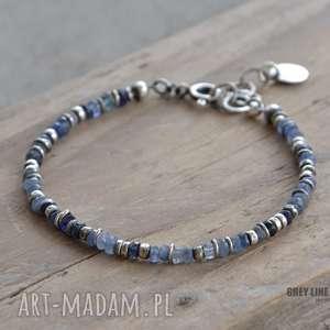 niebieski szafir bransoletka v2, srebro, szafir, kamienie, szlachetne, surowa