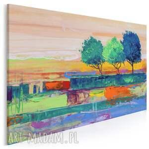 obraz na płótnie - drzewa pejzaż kolorowy 120x80 cm 99601