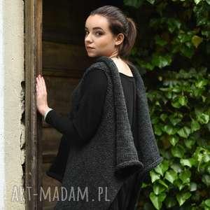 kamizelki szara kamizelka sweter na drutach, wełniana kamizelka