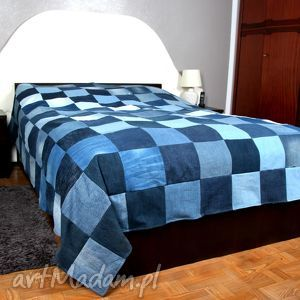 narzuta na łóżka dżinsowa patchwork denim 226x240, narzuta, łóżko, sypialnia