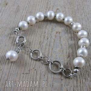 Perły nieidealne - bransoletka , perły, srebro, oksydowane,