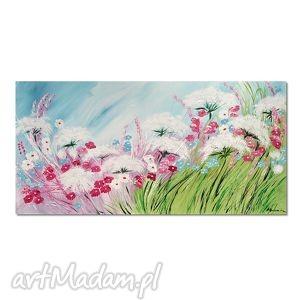 Łąka, polne kwiaty, obraz ręcznie malowany - obraz, łąka, kwiaty