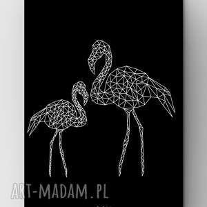flamingi black a3, dom, flamingi, flamingo, plakat, grafika, outline